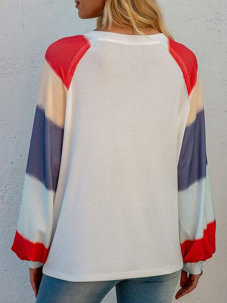 Color Block Sleeve Printed Tops