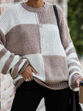 Color Block Striped Stitched Sweater
