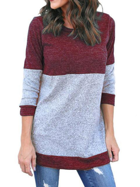 Color Block Thin Knitting Tunic Tops