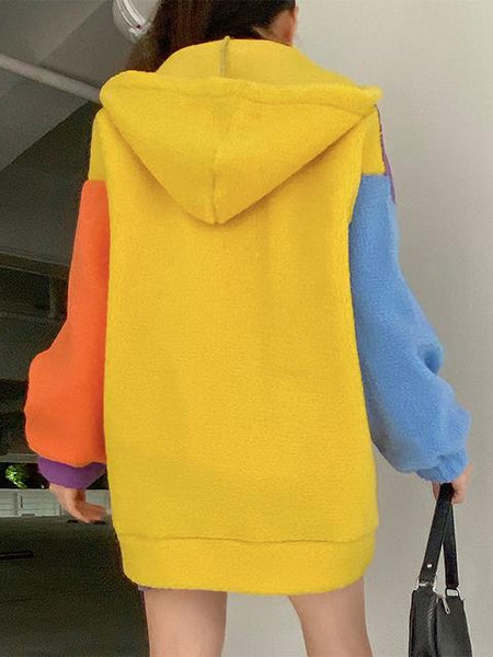 Color Block Zipper-up Hooded Plush Coat