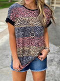 Color Leopard Print Short Sleeve Tops