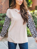 Colorblock Leopard Patchwork Knit Top