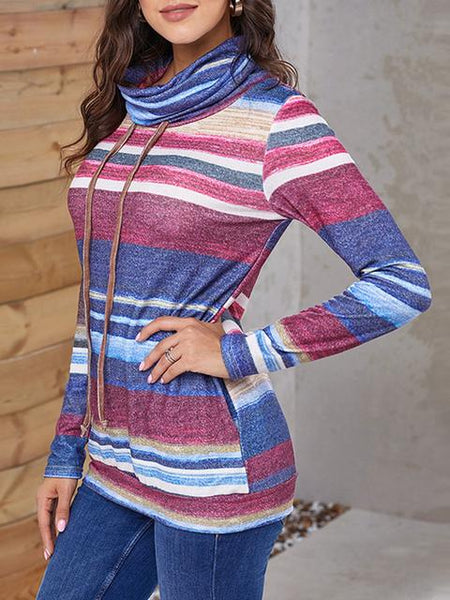 Colorful Stripes Print Drawstring Pullover