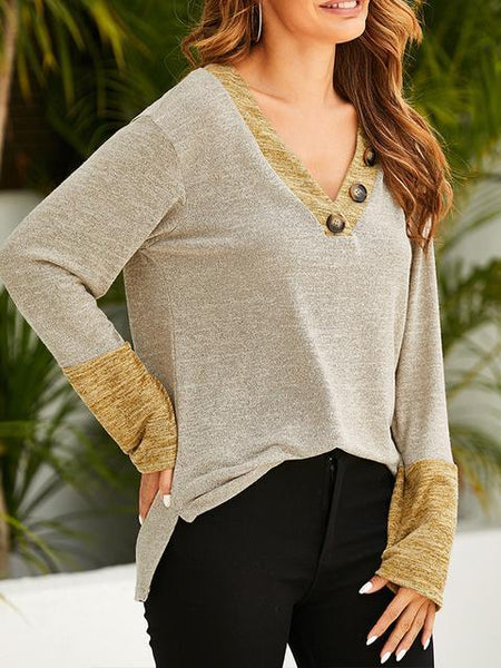 Contrast Color Buttons V-neck Loose Top
