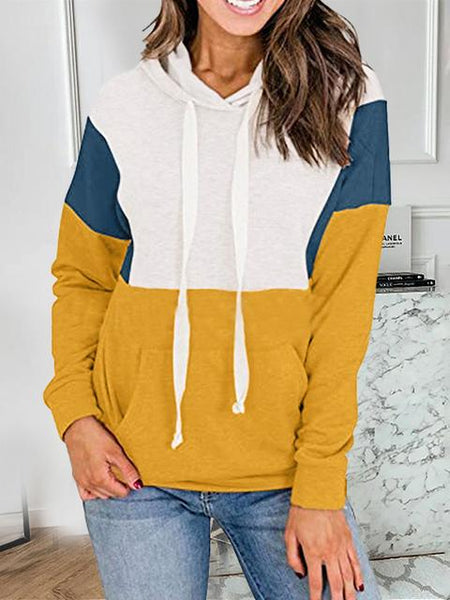 Contrast Color Drawstring Casual Hoodie