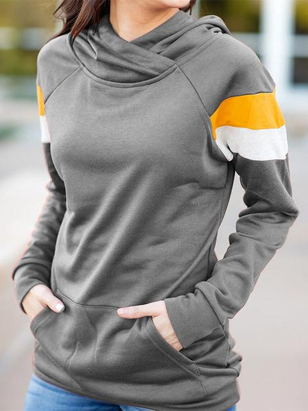 Contrast Color Hooded Sweatshirt