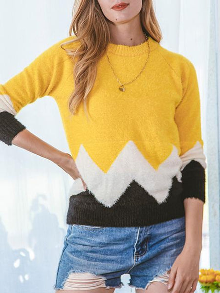 Contrast Color Knitting Sweater