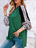 Contrast Color Leopard Print Tops