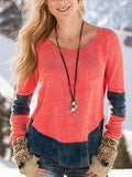 Contrast Color Round Neck T-shirt