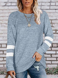 Contrast Color Sleeve Loose Tops
