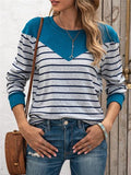 Contrast Color Stripes Print Tops