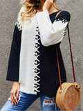 Contrasting Patch Panel Long Sleeve Sweater
