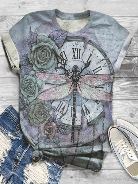 Dragonfly Pattern Print Short Sleeve T-shirt