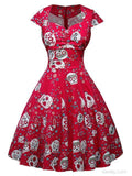Halloween Vintage Skull Print Hepburn Dress