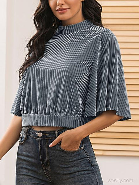 Bat Sleeve Stand Collar Short Tops