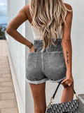 High Waist Rolled Hem Denim Shorts