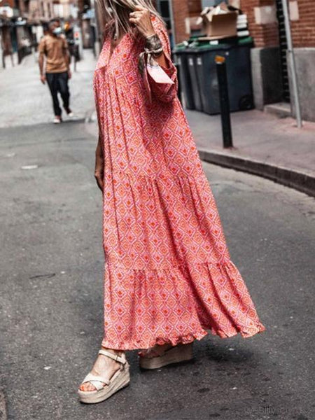 Bohemia Print V Neck Long Dress