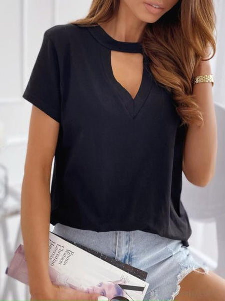 Solid Color Hollow V-neck T-shirt