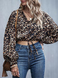Leopard Bow Pleated Patchwork V Neck Top