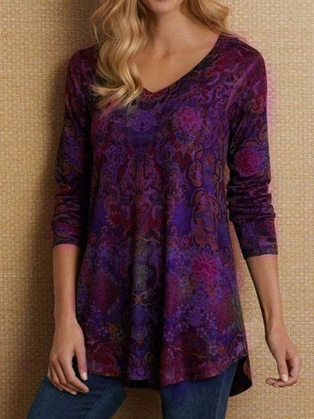 Printed Long Sleeve V Neck T-Shirts