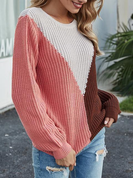Color Block Knitting Jumper Sweater