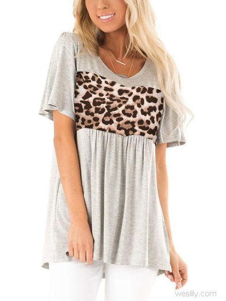 Leopard Stitching Short Sleeve Pleated T-shirt