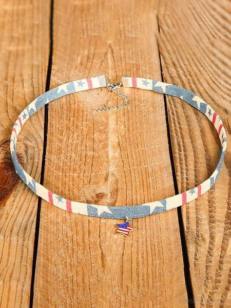 American Flag Star Pendant Denim Choker Necklace
