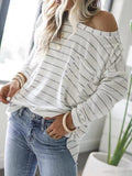 Casual Stripe Pocket Long Sleeve T-Shirt