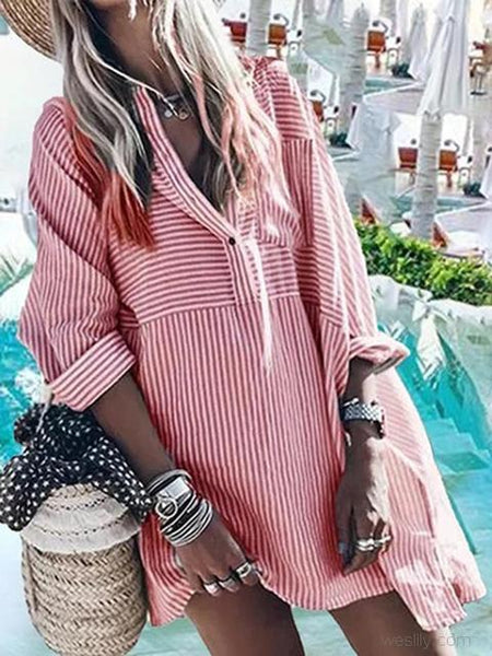 Striped Long Sleeve Button Shirt Dress