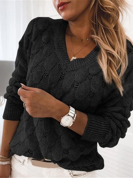 Feather Hollow V-neck Long Sleeve Sweater