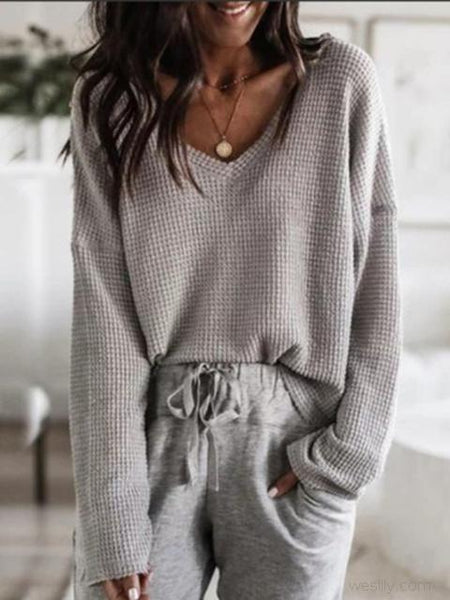Solid Color Loose V-neck Top