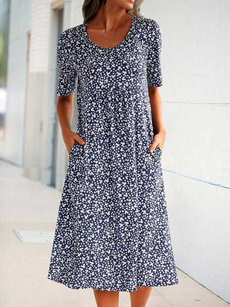 Floral Print Midi Dress With Pockets
