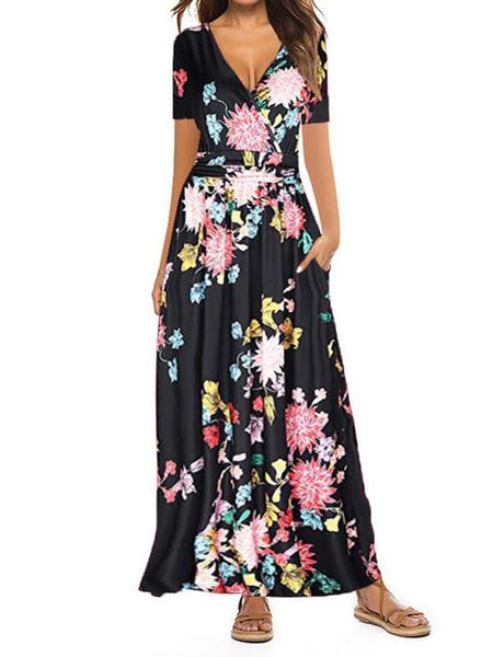 Floral Print Pleated V-neck Long Dress