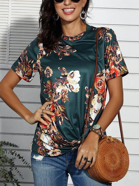 Floral Print Twisted Casual T-shirt