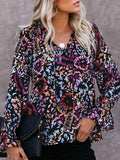 Floral Print V-neck Long Sleeves Blouse