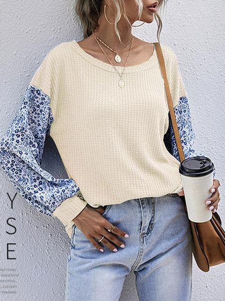 Floral Sleeve Vintage Solid Sweater