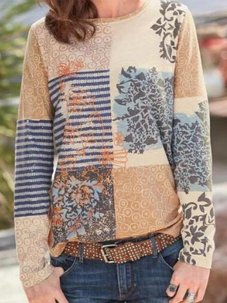 Floral Stripes Print Casual Tops