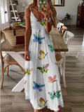 Flower Print Big Swing Long Dress
