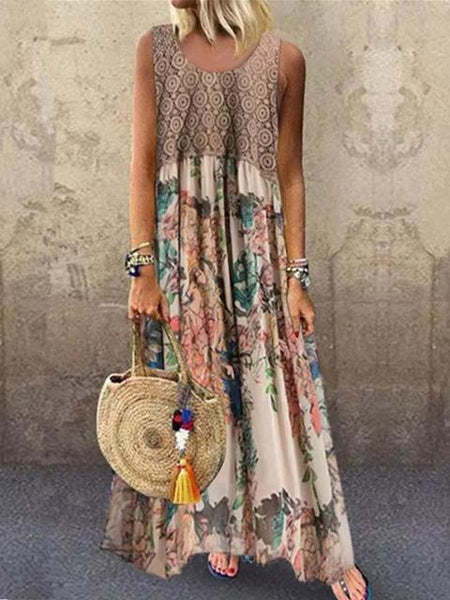 Flower Print Patchwork Long dress