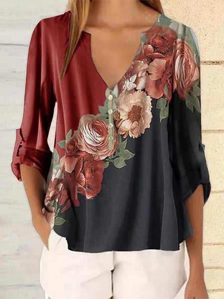 Flower Print V-neck Chiffon Blouse