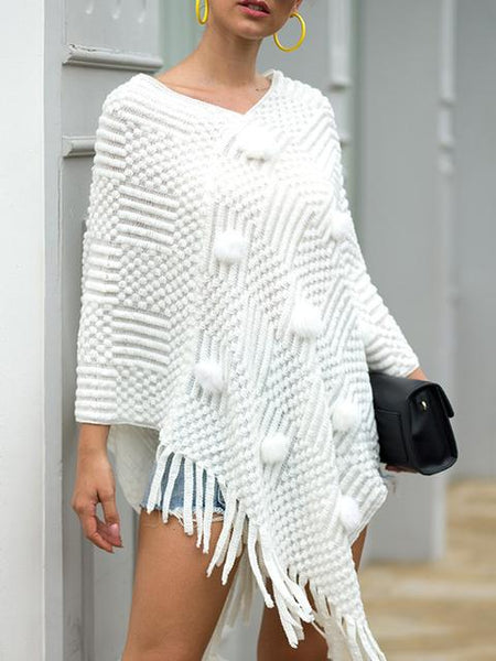 Fringed Cape Casual Sweater