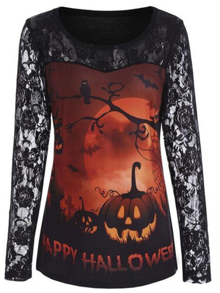 Halloween Print Lace Sleeve T-shirt