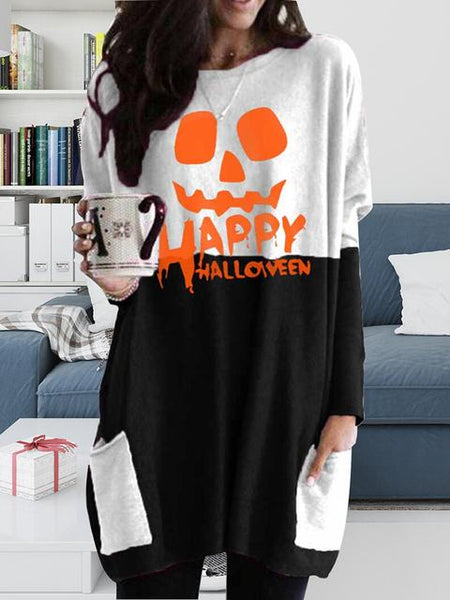 Halloween Print Round Neck Dress