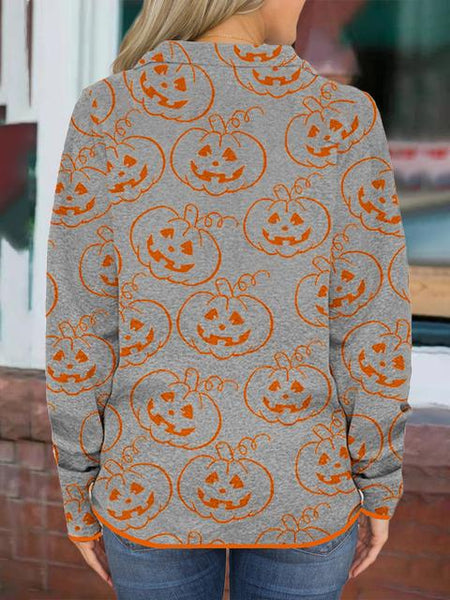 Halloween Print Zipper Up Sweatshirt