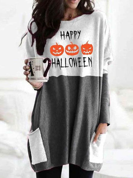 Halloween Printed Loose Tunic Tops
