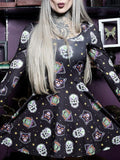 Halloween Skeleton Pumpkin Print Dress