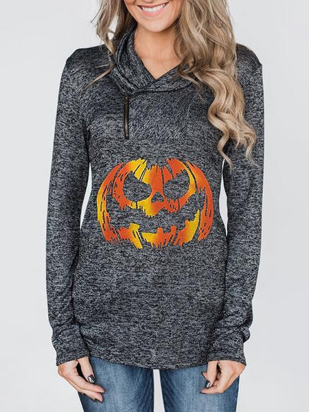 Heathered Sweatshirt With Halloween Pumpkin
