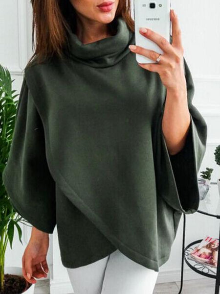 High Collar Solid Color Irregular Tops