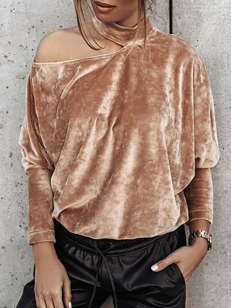 Hollow Out Halter O-Neck Pullovers Top