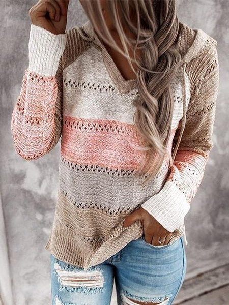Hollow Out Knitted Hooded Sweater